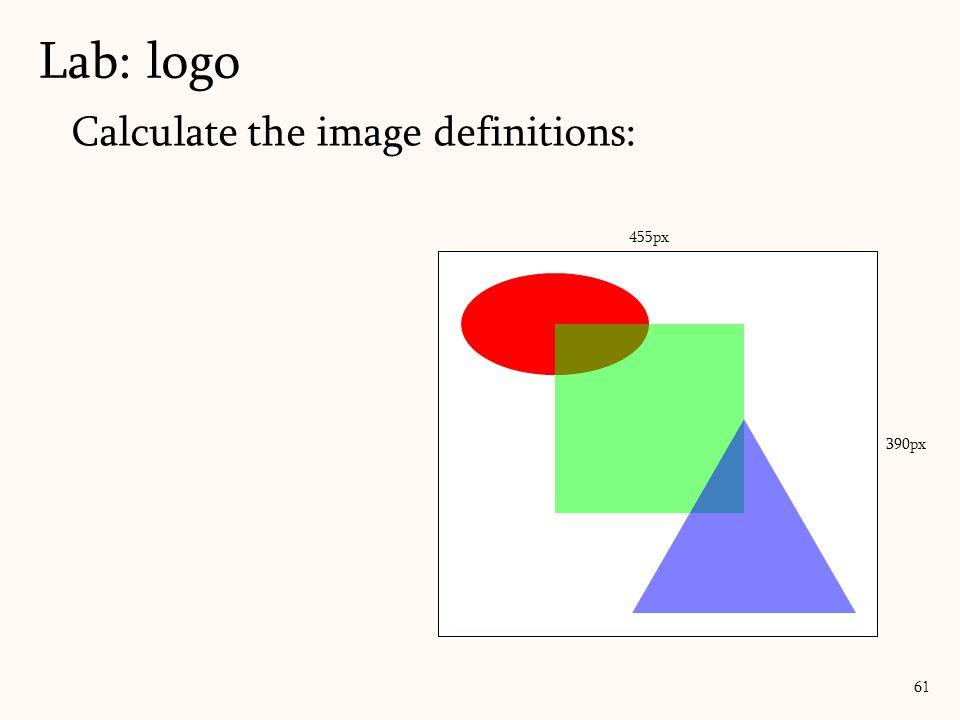 Calculate the image definitions: Lab: logo 61 455px 390px ( √ 5*100)/2 = 113