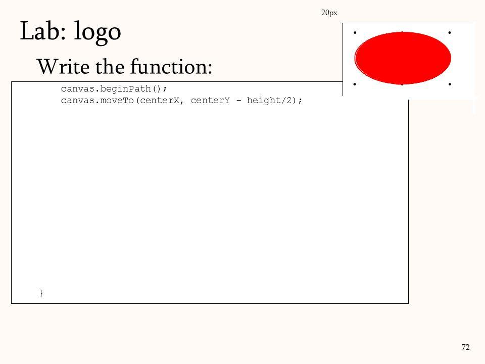 Write the function: Lab: logo 72 canvas.beginPath(); canvas.moveTo(centerX, centerY - height/2); canvas.bezierCurveTo( //describe right half of boundi