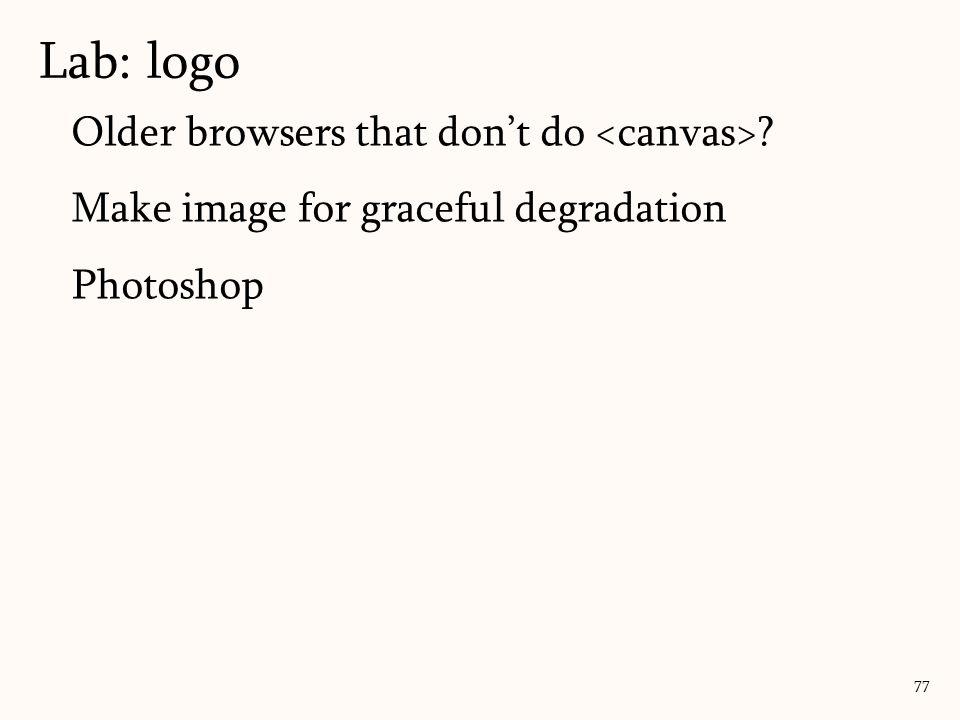 Older browsers that don't do ? Make image for graceful degradation Photoshop Lab: logo 77