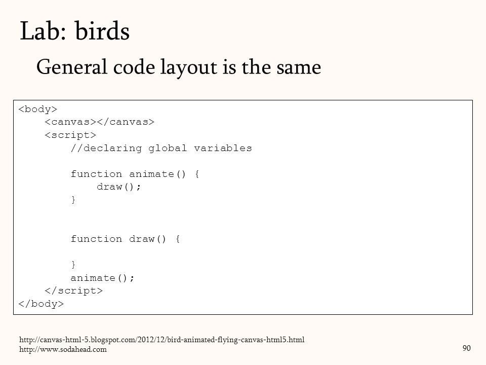 General code layout is the same Lab: birds 90 //declaring global variables function animate() { draw(); } function draw() { } animate(); http://canvas