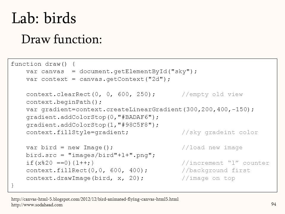 Draw function: Lab: birds 94 function draw() { var canvas = document.getElementById(