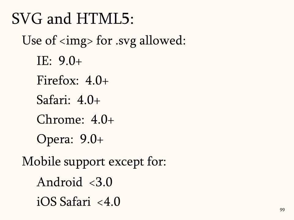 SVG and HTML5: 99 Use of for.svg allowed: IE: 9.0+ Firefox: 4.0+ Safari: 4.0+ Chrome: 4.0+ Opera: 9.0+ Mobile support except for: Android <3.0 iOS Saf