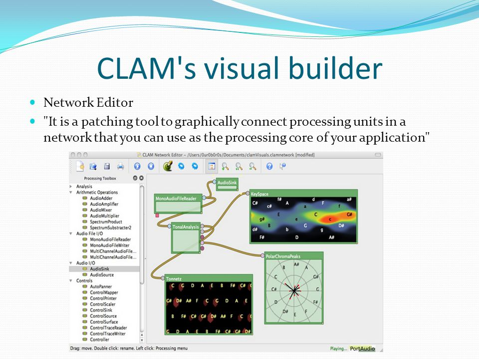 CLAM's visual builder Network Editor