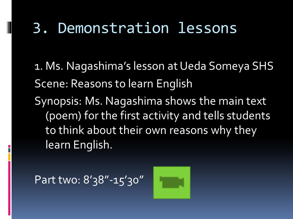 3. Demonstration lessons 1. Ms.