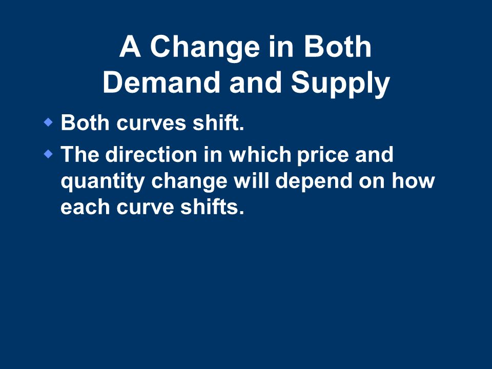 A Change in Both Demand and Supply  Both curves shift.