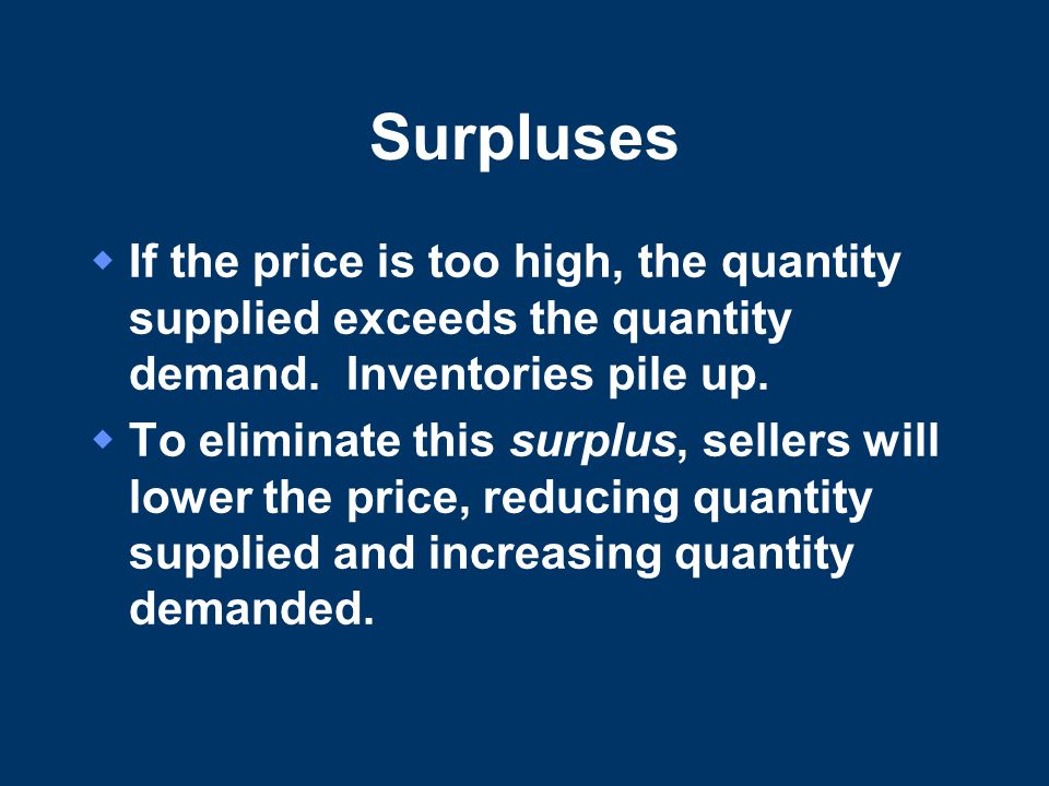 Surpluses  If the price is too high, the quantity supplied exceeds the quantity demand.