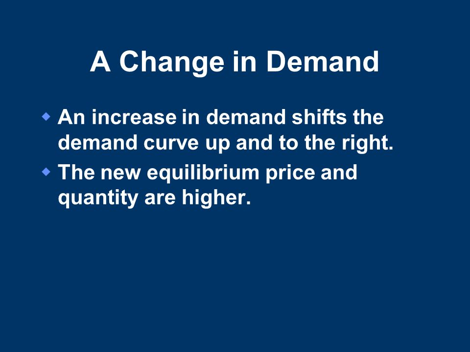A Change in Demand  An increase in demand shifts the demand curve up and to the right.