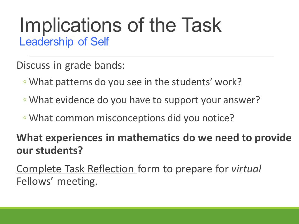 Implications of the Task Leadership of Self Discuss in grade bands: ◦What patterns do you see in the students' work.