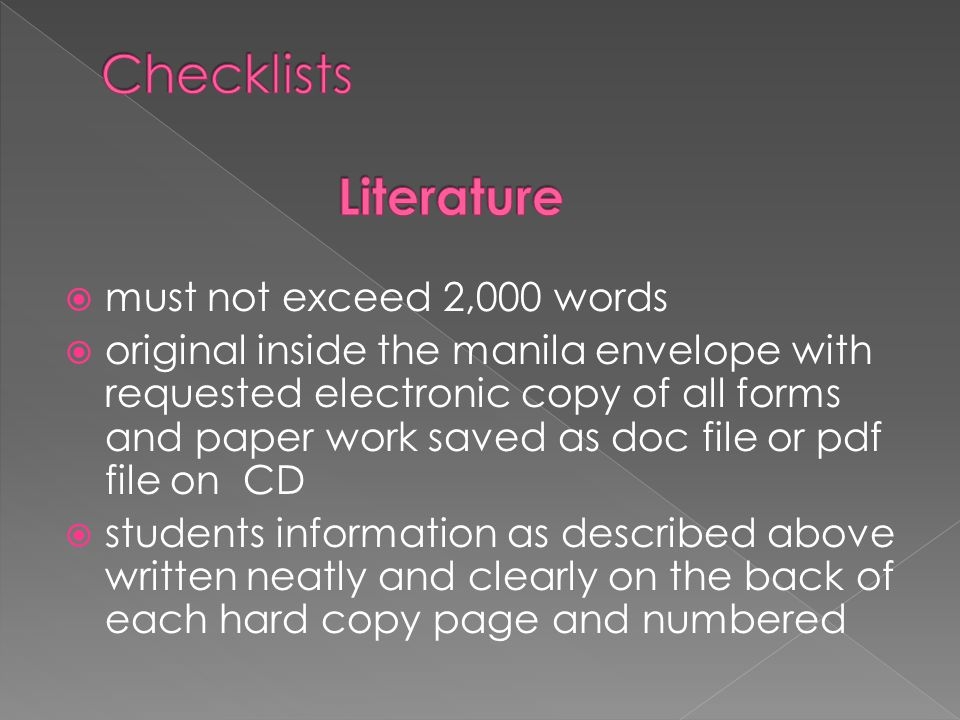  must not exceed 2,000 words  original inside the manila envelope with requested electronic copy of all forms and paper work saved as doc file or pd