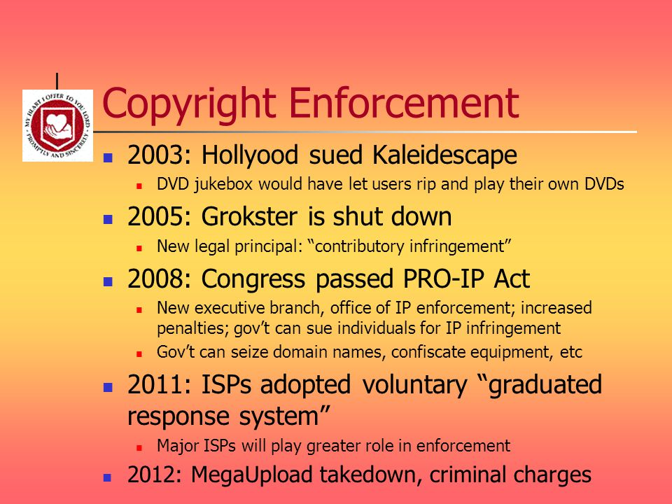 Copyright Enforcement 2003: Hollyood sued Kaleidescape DVD jukebox would have let users rip and play their own DVDs 2005: Grokster is shut down New legal principal: contributory infringement 2008: Congress passed PRO-IP Act New executive branch, office of IP enforcement; increased penalties; gov't can sue individuals for IP infringement Gov't can seize domain names, confiscate equipment, etc 2011: ISPs adopted voluntary graduated response system Major ISPs will play greater role in enforcement 2012: MegaUpload takedown, criminal charges
