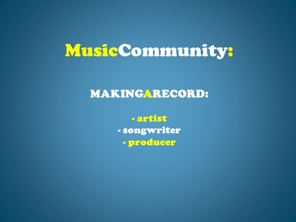MAKINGARECORD: - artist - songwriter - producer MusicCommunity: