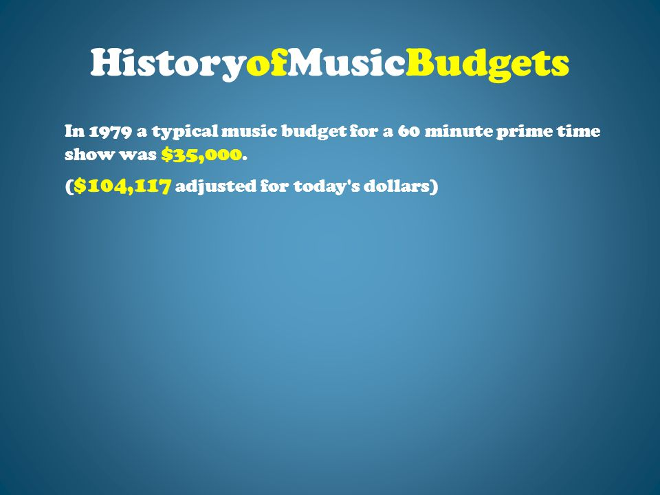HistoryofMusicBudgets In 1979 a typical music budget for a 60 minute prime time show was $35,000.