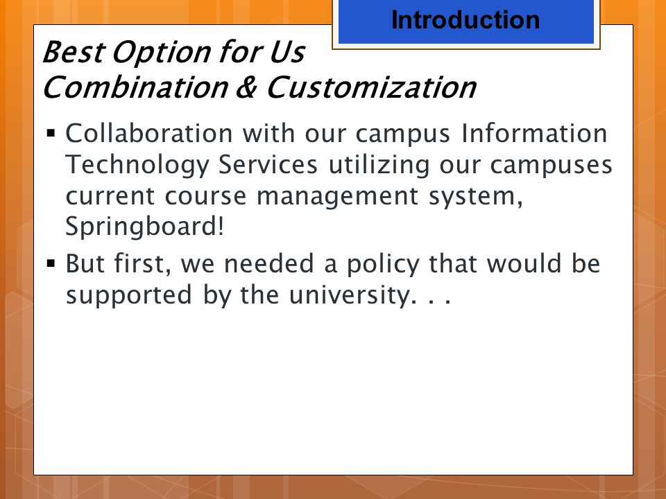 Best Option for Us Combination & Customization  Collaboration with our campus Information Technology Services utilizing our campuses current course m