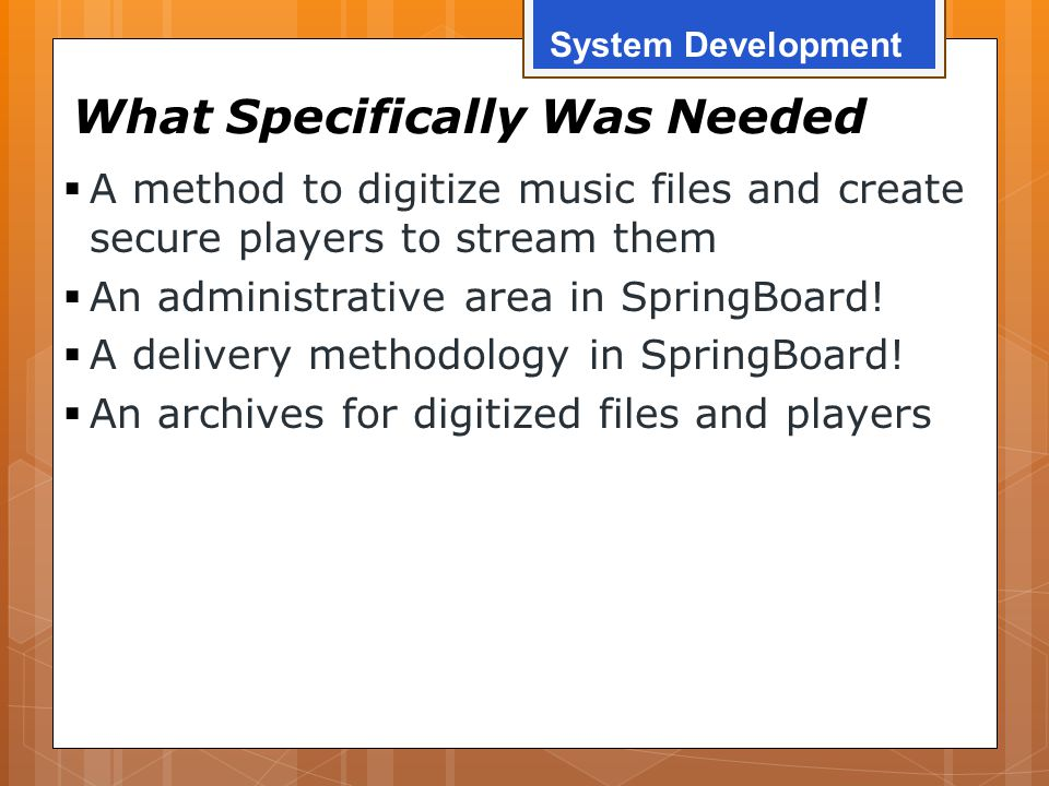 What Specifically Was Needed  A method to digitize music files and create secure players to stream them  An administrative area in SpringBoard!  A