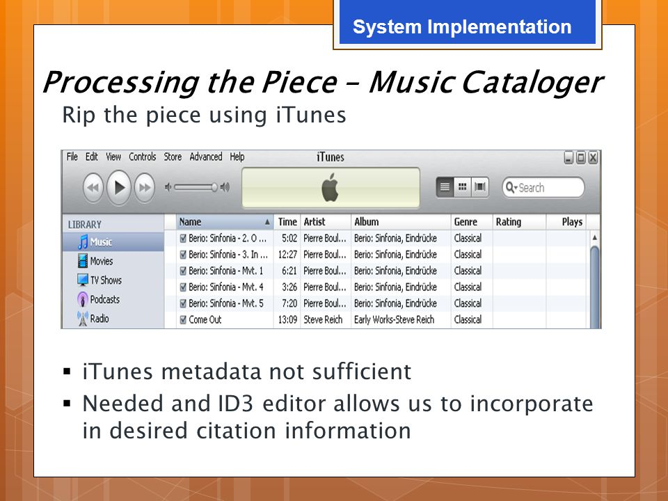 Processing the Piece – Music Cataloger Rip the piece using iTunes  iTunes metadata not sufficient  Needed and ID3 editor allows us to incorporate in