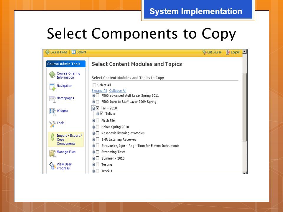 Select Components to Copy System Implementation
