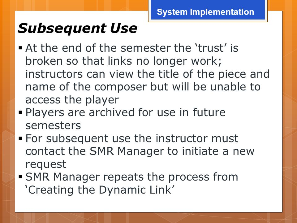 Subsequent Use  At the end of the semester the 'trust' is broken so that links no longer work; instructors can view the title of the piece and name o