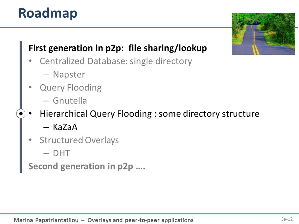Marina Papatriantafilou – Overlays and peer-to-peer applications Roadmap 3a-12 First generation in p2p: file sharing/lookup Centralized Database: sing