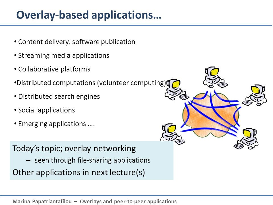 Marina Papatriantafilou – Overlays and peer-to-peer applications Overlay-based applications… Content delivery, software publication Streaming media ap