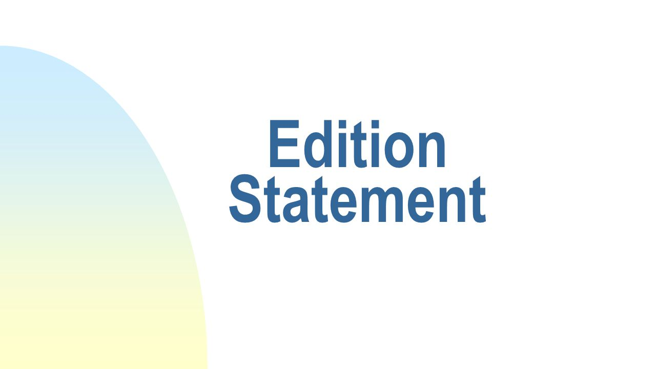 Edition Statement