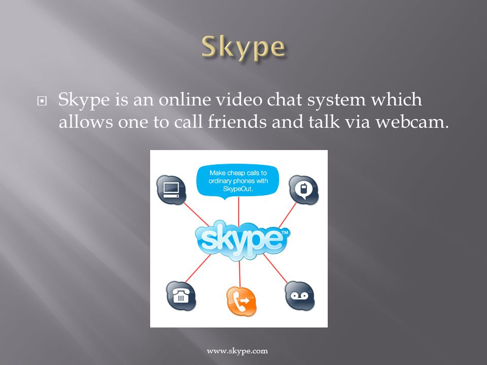  Skype is an online video chat system which allows one to call friends and talk via webcam.