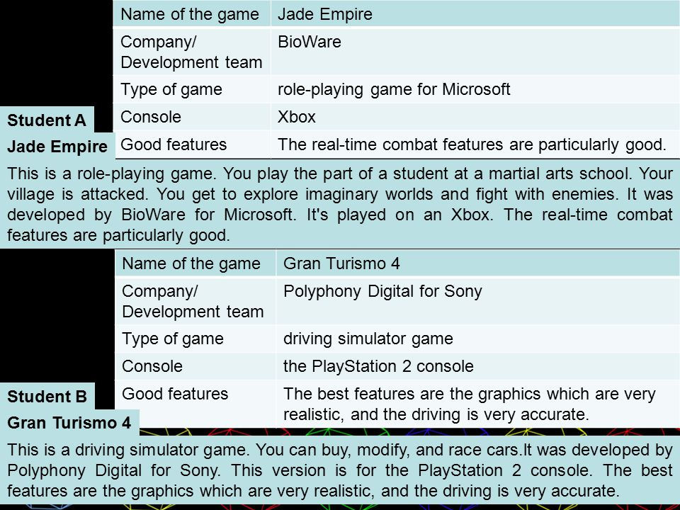 Name of the gameJade Empire Company/ Development team BioWare Type of gamerole-playing game for Microsoft ConsoleXbox Good featuresThe real-time combat features are particularly good.