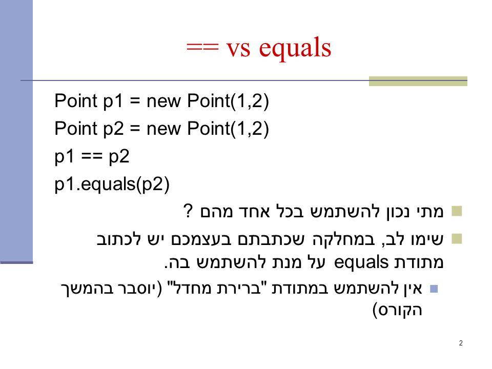 == vs equals Point p1 = new Point(1,2) Point p2 = new Point(1,2) p1 == p2 p1.equals(p2) מתי נכון להשתמש בכל אחד מהם .