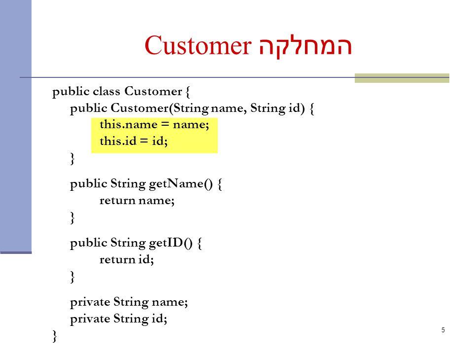 5 המחלקה Customer public class Customer { public Customer(String name, String id) { this.name = name; this.id = id; } public String getName() { return name; } public String getID() { return id; } private String name; private String id; }