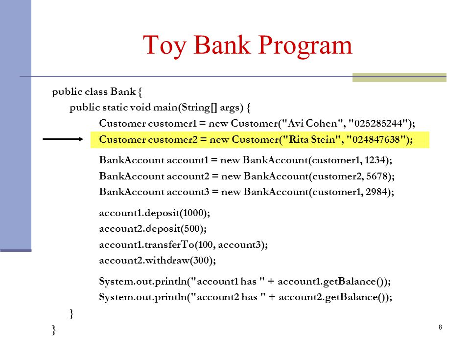 8 Toy Bank Program public class Bank { public static void main(String[] args) { Customer customer1 = new Customer( Avi Cohen , 025285244 ); Customer customer2 = new Customer( Rita Stein , 024847638 ); BankAccount account1 = new BankAccount(customer1, 1234); BankAccount account2 = new BankAccount(customer2, 5678); BankAccount account3 = new BankAccount(customer1, 2984); account1.deposit(1000); account2.deposit(500); account1.transferTo(100, account3); account2.withdraw(300); System.out.println( account1 has + account1.getBalance()); System.out.println( account2 has + account2.getBalance()); }