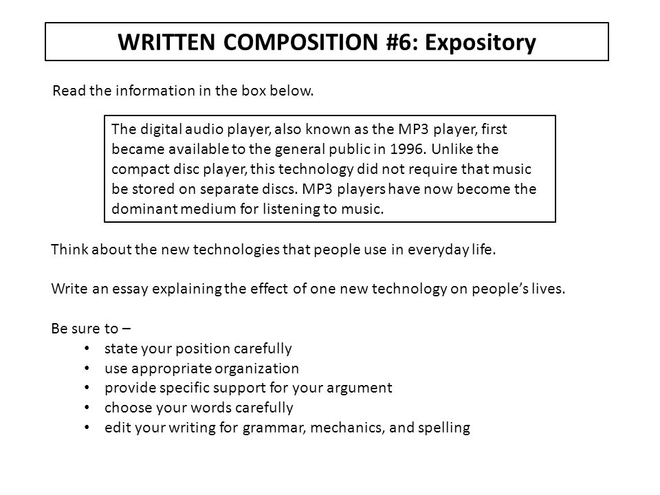 WRITTEN COMPOSITION #7: Expository Read the poem in the box below.