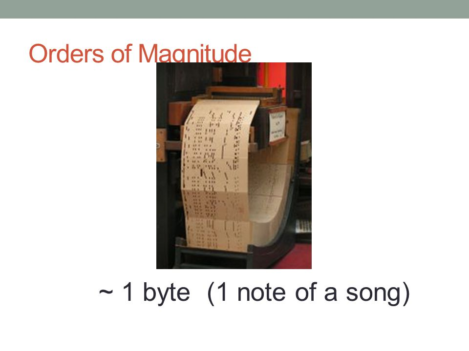 Orders of Magnitude ~ 1 byte (1 note of a song)