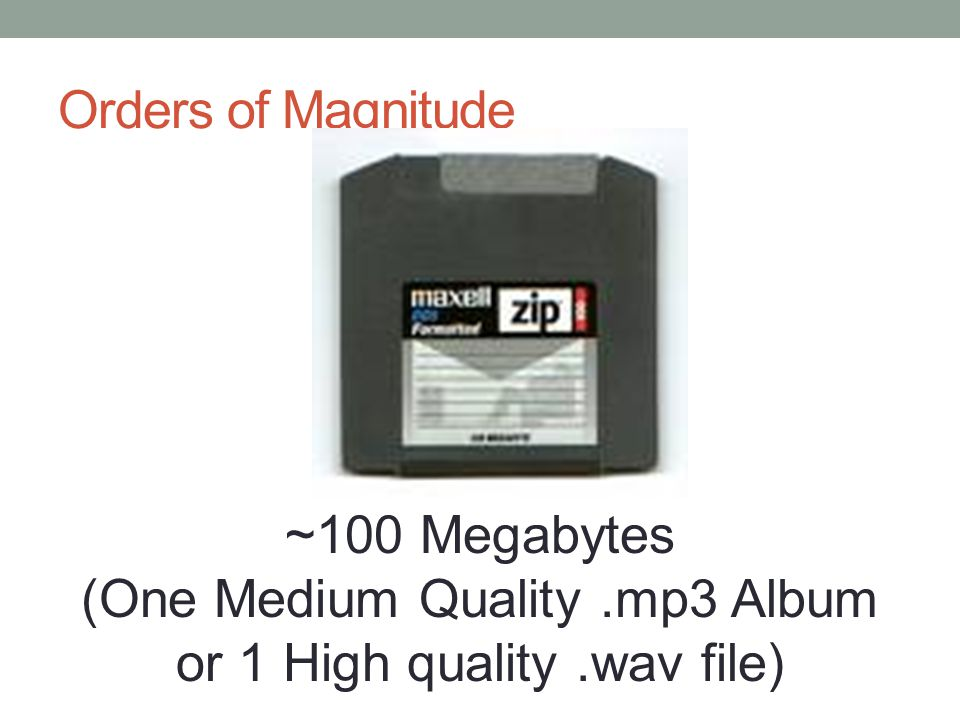 Orders of Magnitude ~100 Megabytes (One Medium Quality.mp3 Album or 1 High quality.wav file)