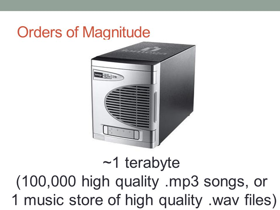 Orders of Magnitude ~1 terabyte (100,000 high quality.mp3 songs, or 1 music store of high quality.wav files)