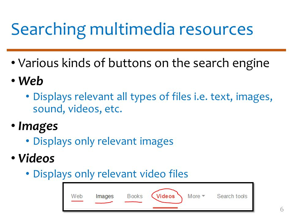 Searching multimedia resources Various kinds of buttons on the search engine Web Displays relevant all types of files i.e.