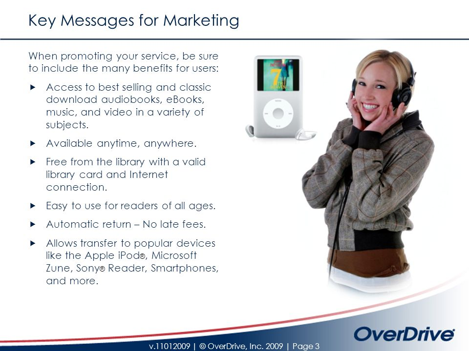 v.11012009   © OverDrive, Inc.2009   Page 14 Communicate with your Users Via Email 1.