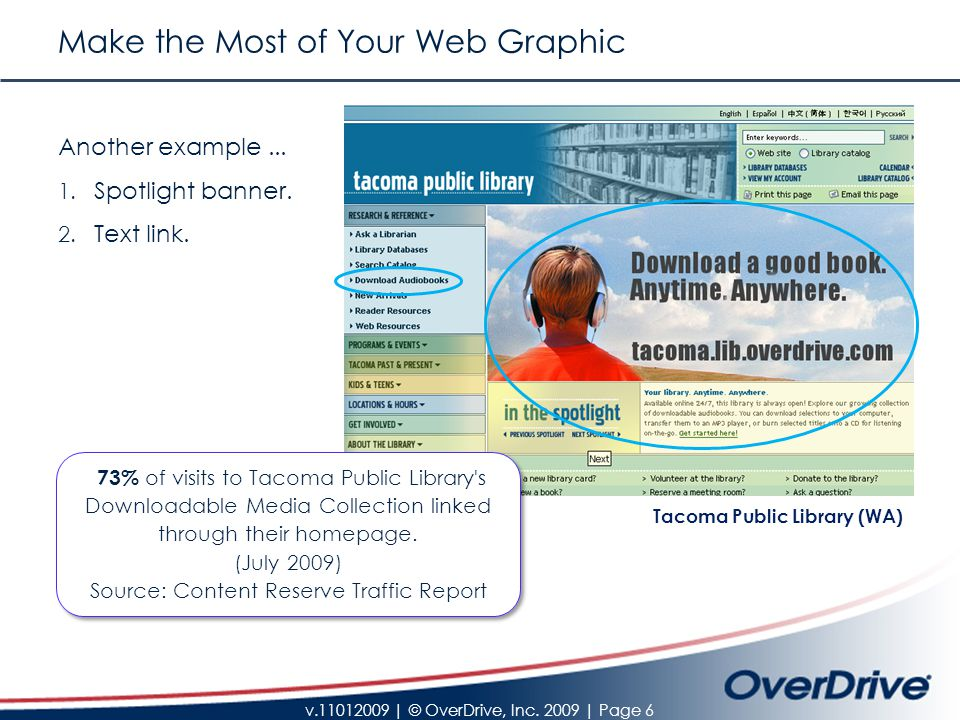 v.11012009 | © OverDrive, Inc. 2009 | Page 6 Make the Most of Your Web Graphic Another example...