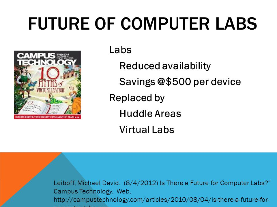 Labs Reduced availability Savings @$500 per device Replaced by Huddle Areas Virtual Labs FUTURE OF COMPUTER LABS Leiboff, Michael David.