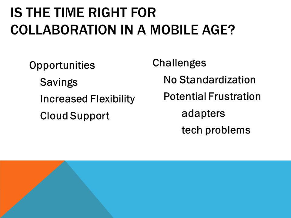 Opportunities Savings Increased Flexibility Cloud Support Challenges No Standardization Potential Frustration adapters tech problems IS THE TIME RIGHT FOR COLLABORATION IN A MOBILE AGE?