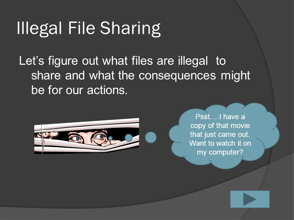 P2P File Sharing  P2P, or peer to peer, file sharing is the use of software that allows computers to communicate directly with each other.