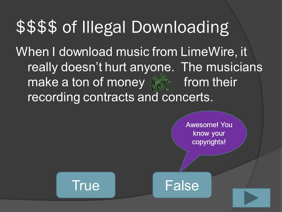 $$$$ of Illegal Downloading When I download music from LimeWire, it really doesn't hurt anyone.