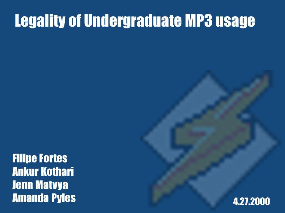 Filipe Fortes Ankur Kothari Jenn Matvya Amanda Pyles 4.27.2000 Legality of Undergraduate MP3 usage