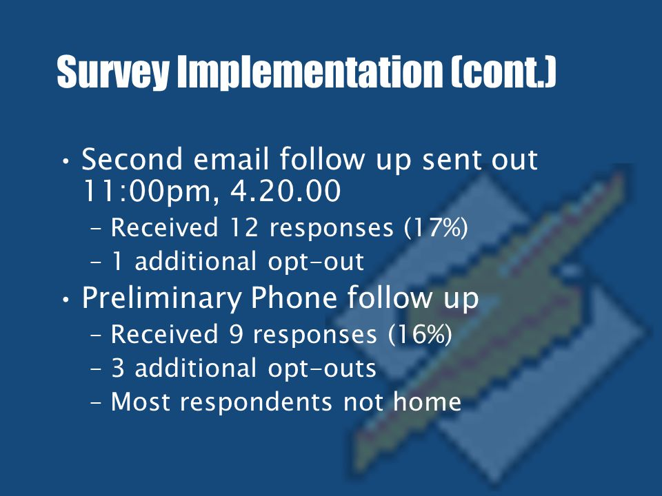Survey Implementation (cont.) Second email follow up sent out 11:00pm, 4.20.00 –Received 12 responses (17%) –1 additional opt-out Preliminary Phone follow up –Received 9 responses (16%) –3 additional opt-outs –Most respondents not home