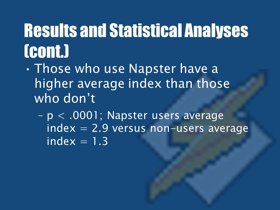 Results and Statistical Analyses (cont.) Those who use Napster have a higher average index than those who don't –p <.0001; Napster users average index = 2.9 versus non-users average index = 1.3