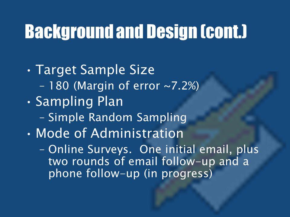Background and Design (cont.) Target Sample Size –180 (Margin of error ~7.2%) Sampling Plan –Simple Random Sampling Mode of Administration –Online Surveys.