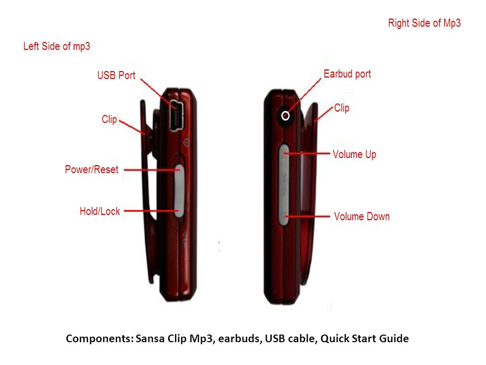 Components: Sansa Clip Mp3, earbuds, USB cable, Quick Start Guide