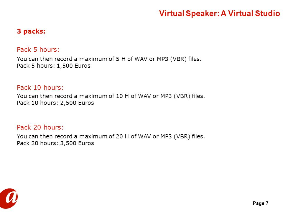 Page 7 3 packs: Pack 5 hours: You can then record a maximum of 5 H of WAV or MP3 (VBR) files.