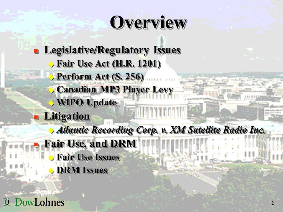 2OverviewOverview n Legislative/Regulatory Issues u Fair Use Act (H.R.