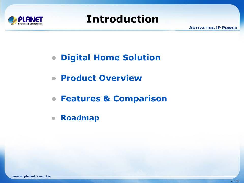 2 / 25 www.planet.com.tw Introduction Digital Home Solution Product Overview Features & Comparison Roadmap
