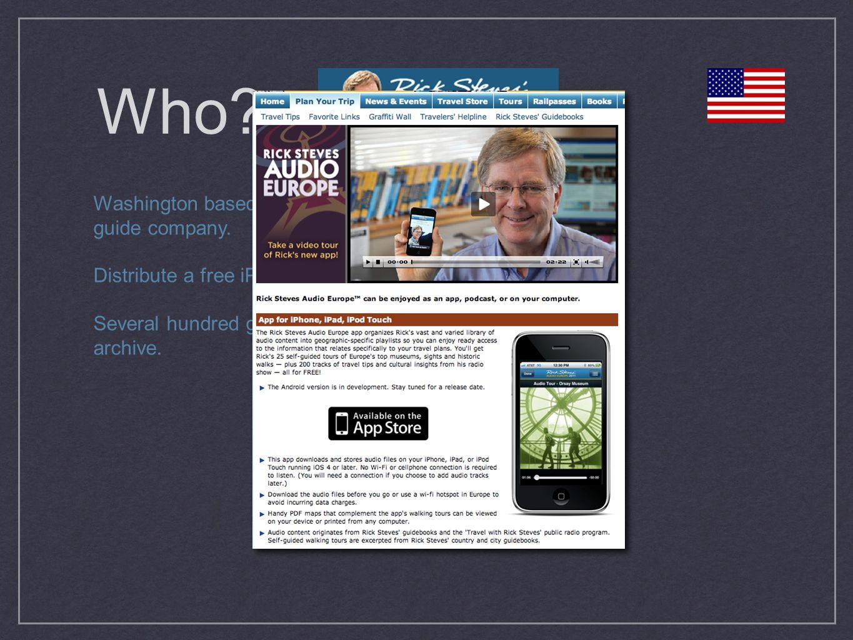 Who. Washington based travel guide company. Distribute a free iPhone ap.