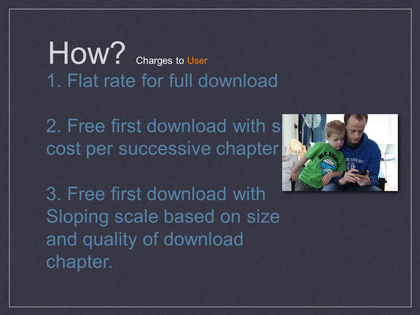 How. Charges to User 1. Flat rate for full download 2.